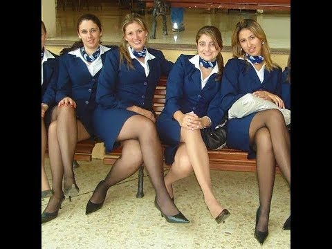 Hot Stewardess with Sexy Legs in Stockings and Pantyhose