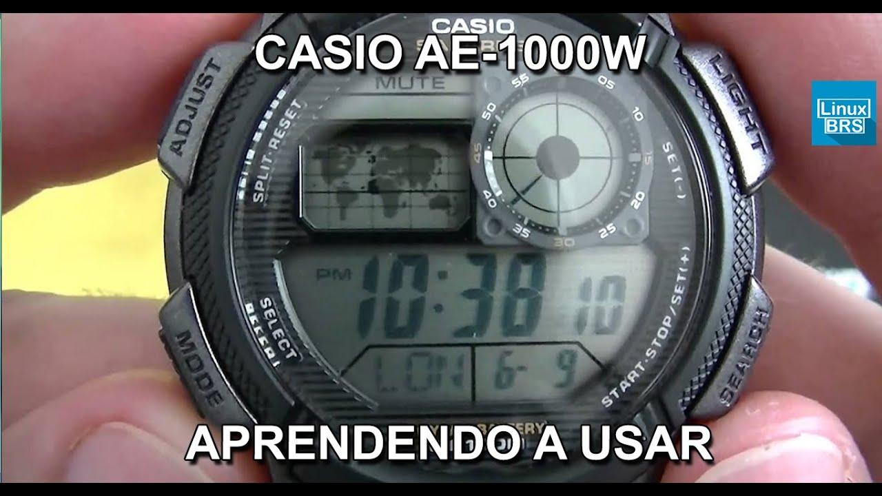 2068cc128f1 Casio AE-1000W 1AV - World Time - Aprendendo a usar - PT-BR - Brasil ...