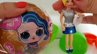LOL SURPRISE DORADA CON LUZ ¡COPIA! Y CHUPA CHUP GIGANTE CON MUÑECA POLLY POCKET