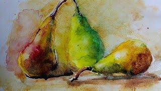 Акварель по мокрому - Натюрморт,Груши (Watercolor Paint)