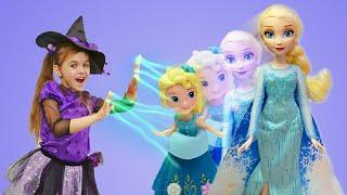 Эльза Холодное сердце ИСЧЕЗЛА Видео для девочек Ведьмочка Юлли заколдовала куклы