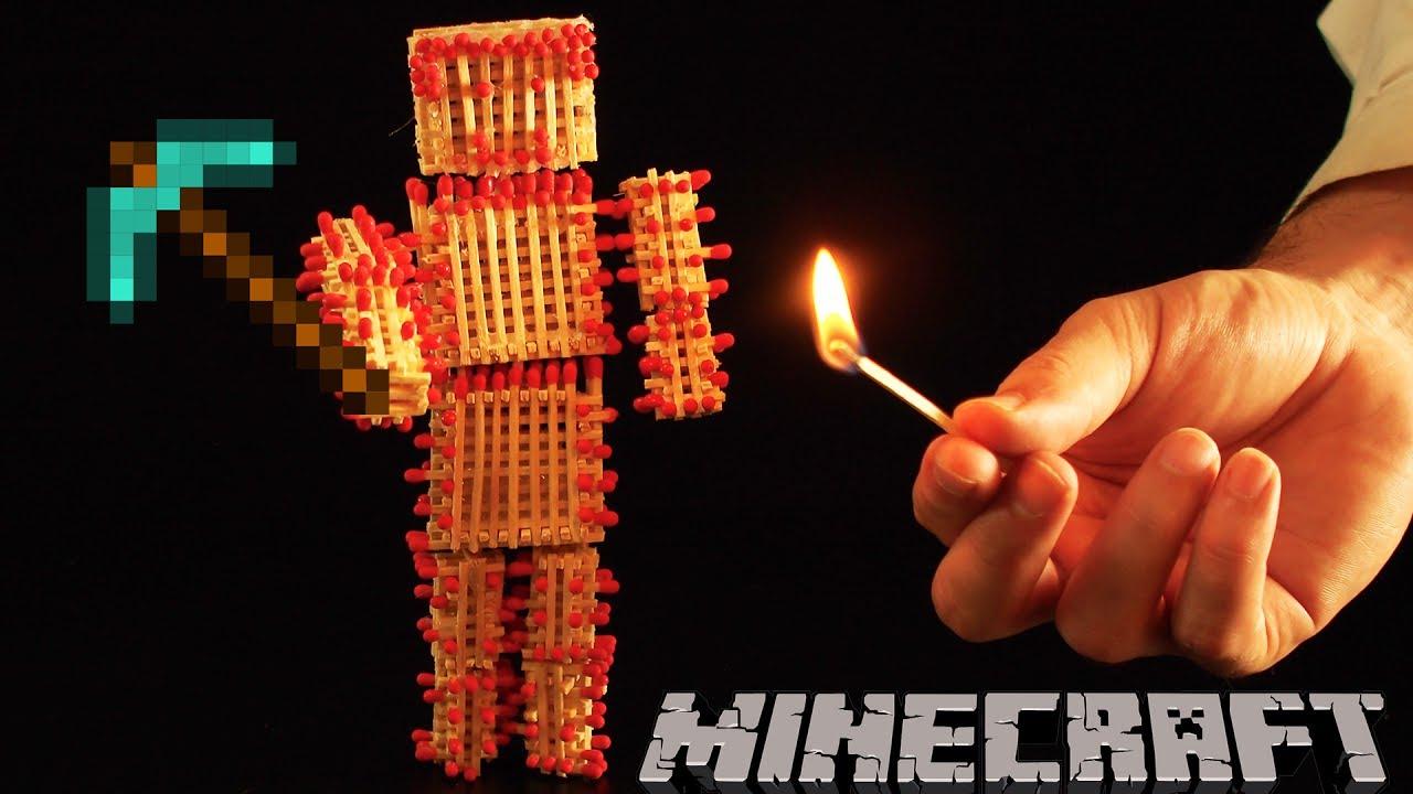 Como hacer a Steve de MINECRAFT con 1000 fosforos ( Le pegamos fuego )