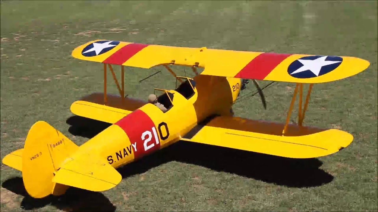 Maiden Flight of Vinnies Boeing Stearman 1/3 Scale Balsa USA