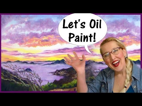 Easy Sunset in Oil Paints Real Time Tutorial // Limited Palette-Only 5 Colors!