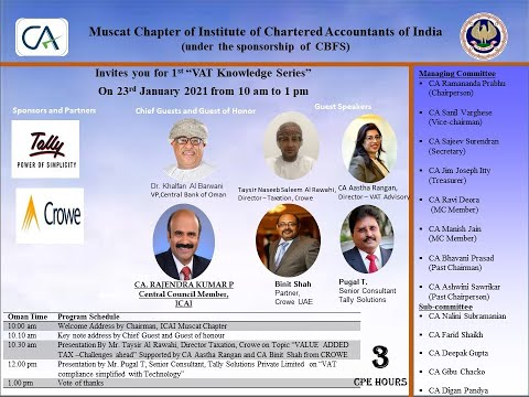 1st Oman VAT knowledge Series by ICAI Muscat Chapter