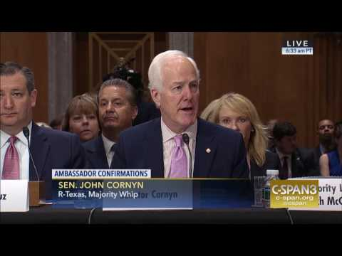 Cornyn Introduces Former Senator Hutchison at Confirmation Hearing