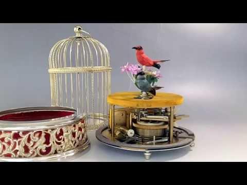 Vintage Reuge Swiss Automaton Mechanical Singing Bird Cage Music Box