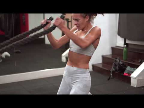 Model Workout Battle Ropes for arms and core abs workout targetting obliques w Ally Courtnall