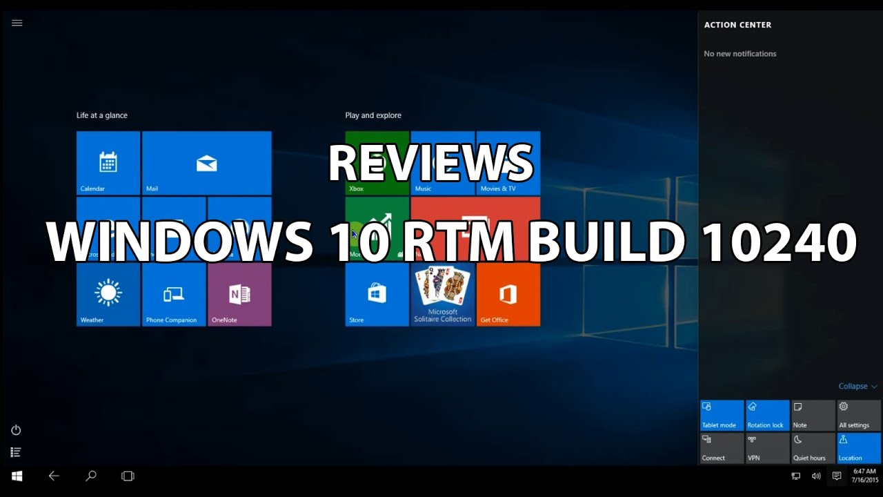 Windows 10 Rtm Build Reviews Youtube