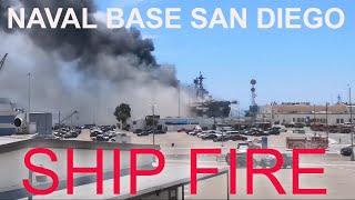 Горит корабль Bonhomme Richard на военно-морской базе США, San Diego.