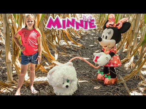 ASSISTANT Disney Minnie Mouse Walk and Play Puppy with Wiggle in Corn Maze