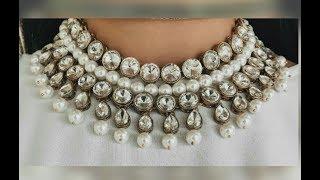 Stylish/Party Wear Kundan Necklace with Pearls Making/Bridal kundan jewelry making..