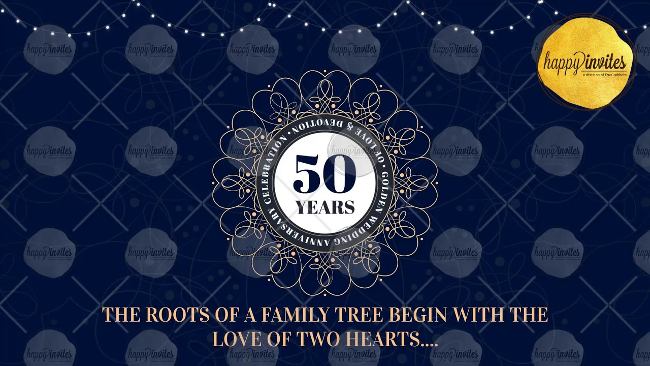 Golden jubilee anniversary video invitation 50th marriage golden jubilee anniversary video invitation 50th marriage anniversary celebration invite stopboris Choice Image