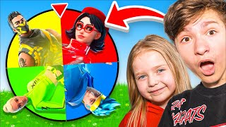 SPIN THE WHEEL W/ 6 YEAR OLD - Fortnite *ONE COLOR* Challenge! (Hard)