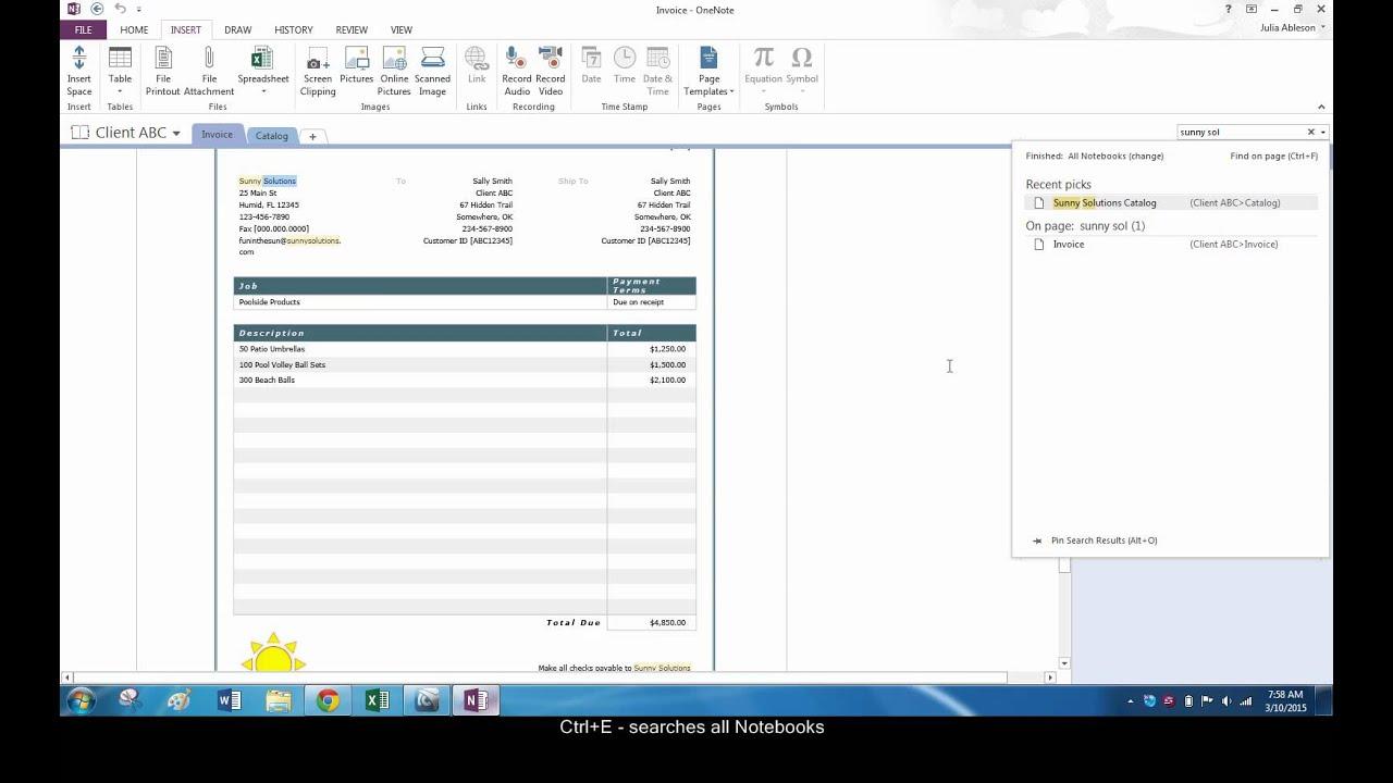 Search a PDF in OneNote