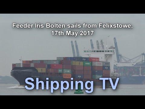 Feeder Iris Bolten sails from Felixstowe, 17 May 2017