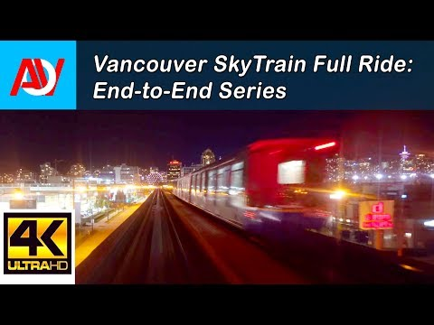 Vancouver SKYTRAIN FULL RIDE: REAR SEAT VIEW, EXPO LINE TO PRODUCTION WAY-UNIVERSITY End-to-End - 4K