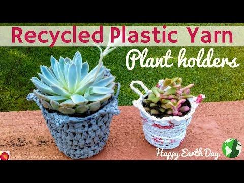 Recycled Plastic Yarn Plant Holders - Plarn Earth Day DIY