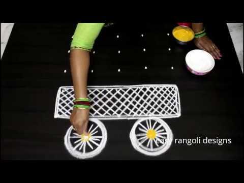 Radhasaptami special kolam with 5 dots  || easy  Radham muggulu designs || cute rangoli