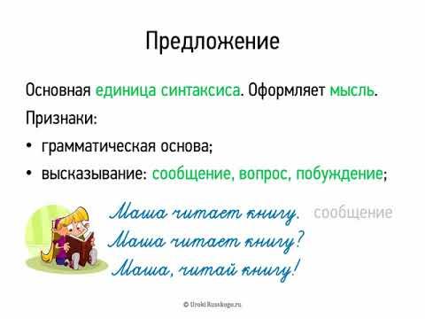 Видеоурок по русскому языку 8 класс предложение