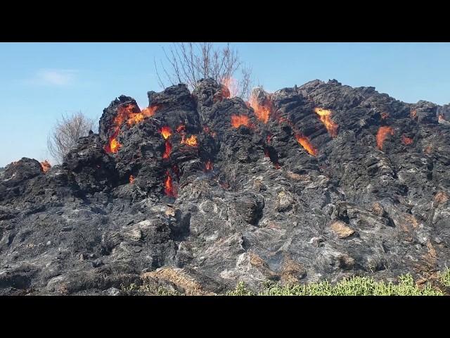 Pożar Stogu - Pelplin Wybudowanie - 12.04.2020