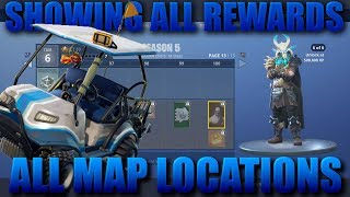 Fortnite Season 5 Update! Showing All Battle Pass Rewards and All New Map Locations!