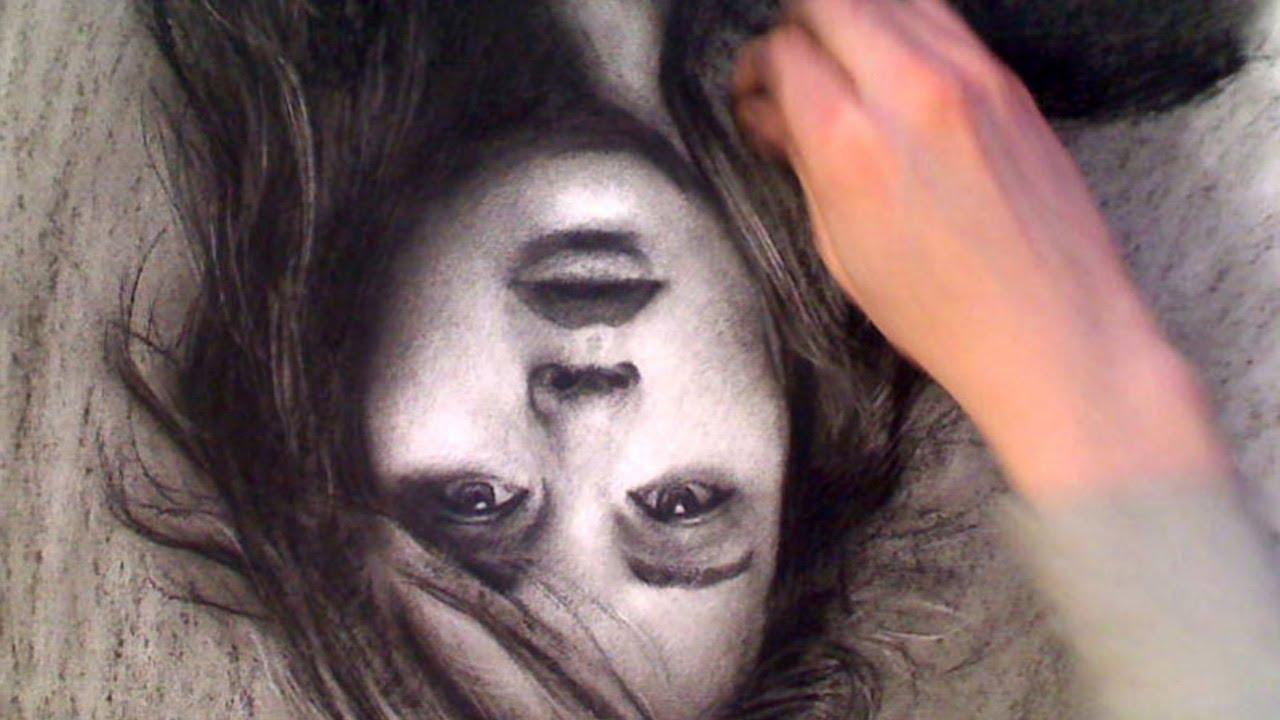 Drawing Upside Down! Jennifer Lawrence portrait video Art Drawing Video