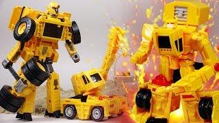헬로카봇 중장비 로봇 크랜 vs 악당 중장비 장난감 자동차 트럭 엑스봇 대결투! 모래놀이 동산을 지켜라!