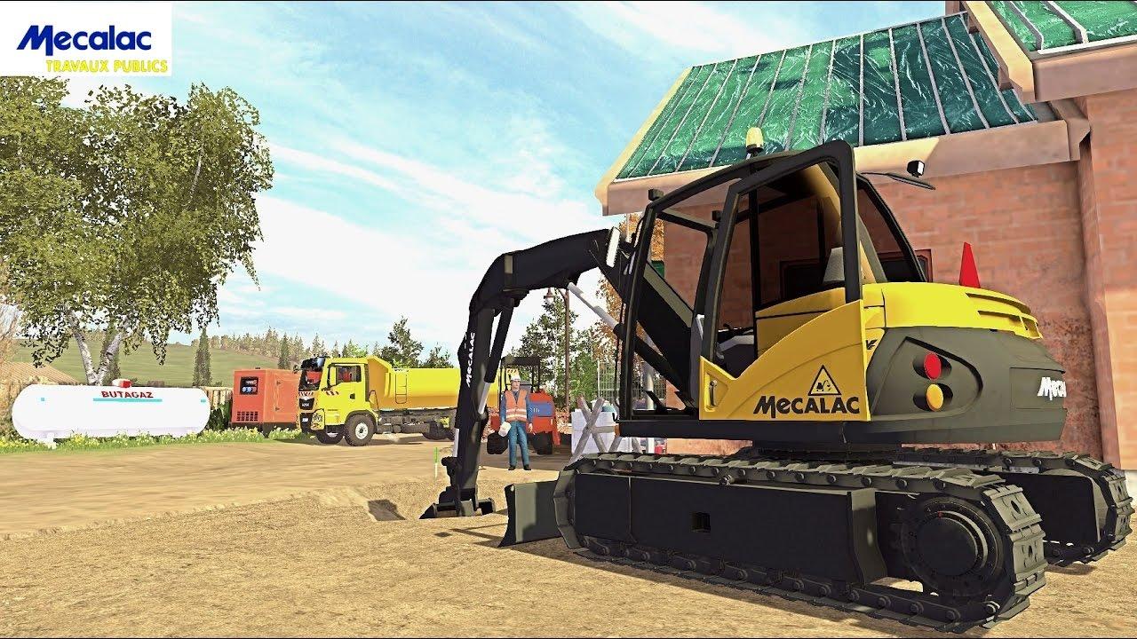 Farming simulator 15 travaux publiques mecalac mwe youtube for Pack travaux