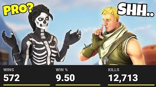 he told me he had 0 WINS... but he had 500 WINS!! (Secret Fortnite Pro?)