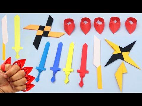 Top 05 Easy Origami Ninja Star/Sword/Knife - How to make