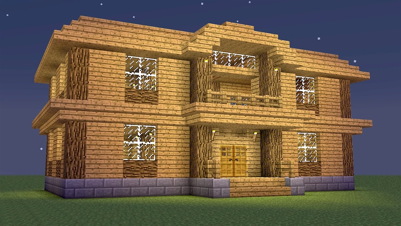 Minecraft how to build a wooden mansion youtube for How to build a mansion
