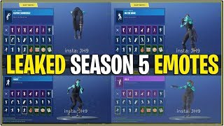 *NEW* Fortnite: LEAKED SEASON 5 EMOTES IN-GAME! | (Hula, Backflip, and More!)