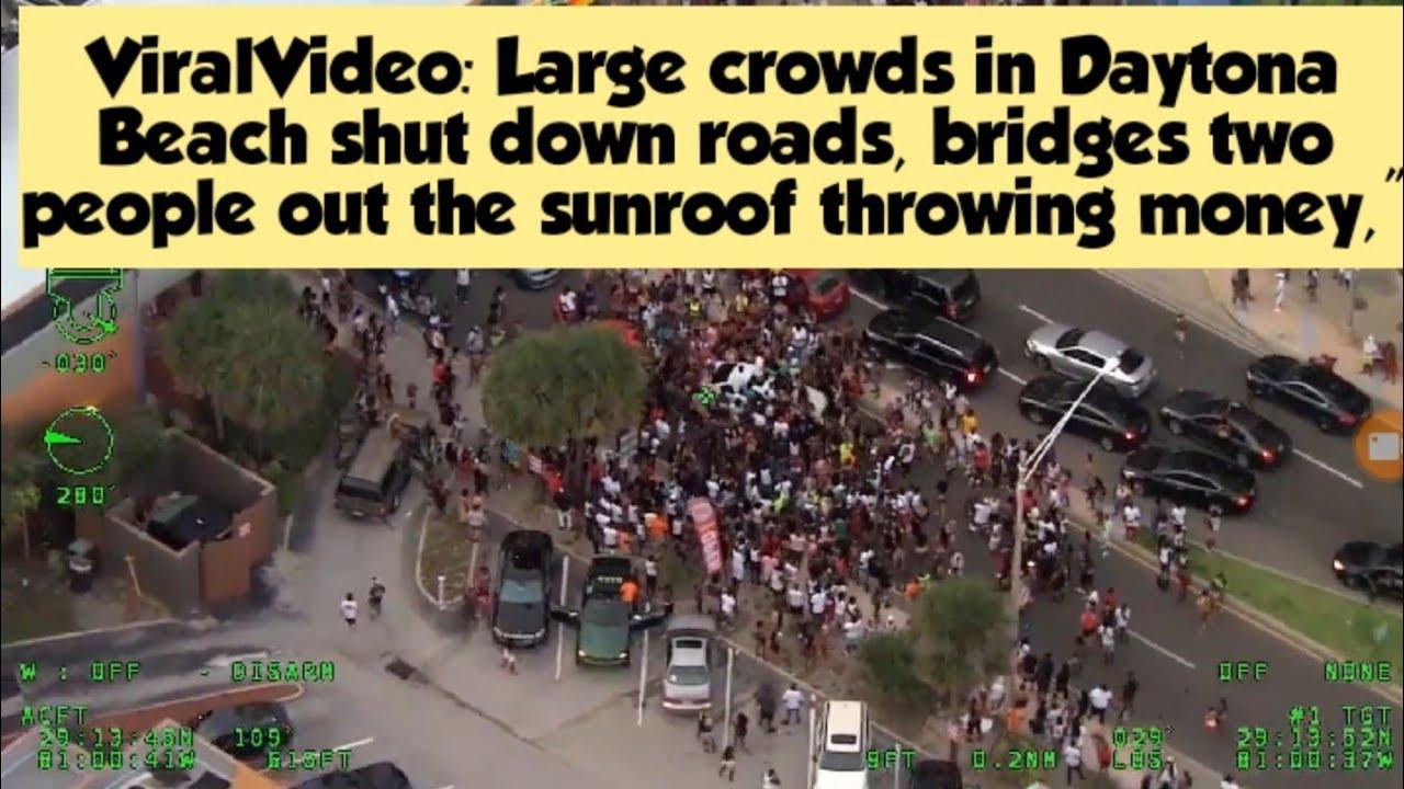 Video: Large crowds in Daytona Beach shut down roads, bridges