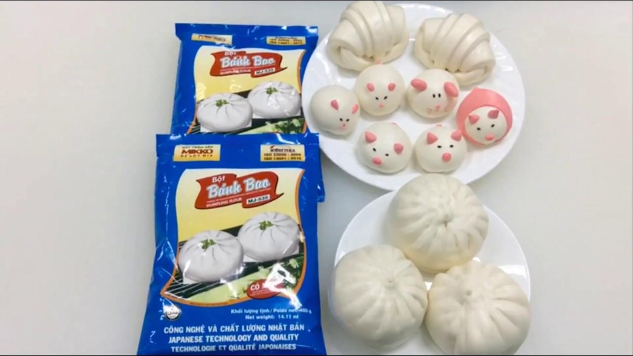 Cách làm bánh bao nhân thịt và bánh bao heo cưng từ bột trộn sẵn Mikko Hương Xưa.