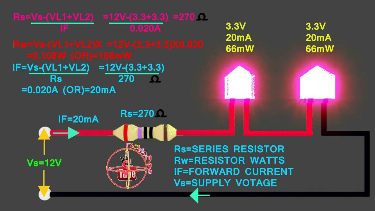 33v &33v LED how to connect 12V series circuit, how to calculate led series resistor, watts