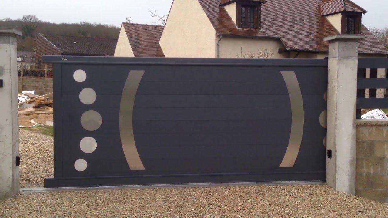 Bien-aimé Magnifique Portail coulissant design motorisée avec décors inox  DY96