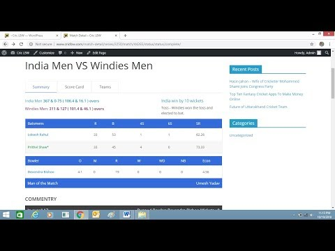 How To Install Live Cricket Score Plugin In WordPress