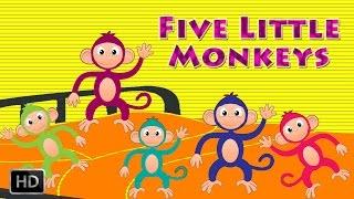 five little monkeys jumping on the bed   3d popular kids songs   nursery rhymes   preschool