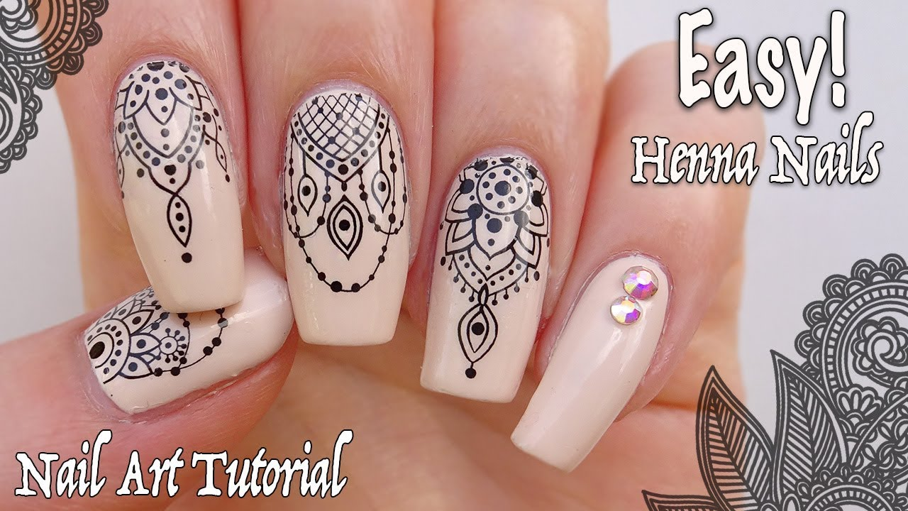 Easy Henna Nails How To Use Water Decals Youtube