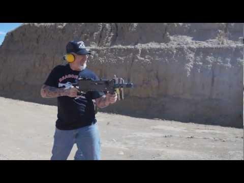 Dragon Man  shooting a M1919 308 cal Machine Gun Hand Held  M1919