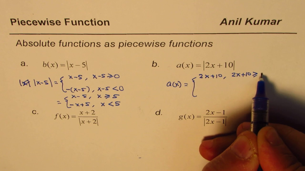How to write Absolute Function as Piecewise Function - YouTube