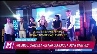 Graciela Alfano defendió a Juan Darthés en su obra de teatro