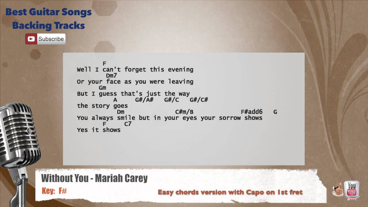 Without you mariah carey vocal backing track with chords and without you mariah carey vocal backing track with chords and lyrics hexwebz Choice Image
