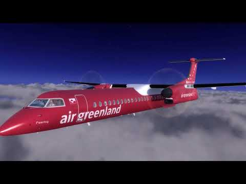 Prepar 3d v4 / Majestic dash 8 q400, Air Greenland,  Nuuk scenery