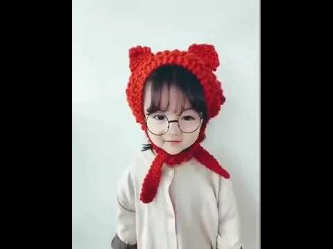 [VIDEO] - wool hat earmuffs winter warm cute girl kids beautiful cat ears knit lace earmuffs children hat 2