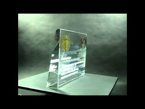 TRI h Laser 3d %26 Color print on glass award Shabas Police Travel Video