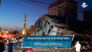 El ataque que derrumbó el edificio de oficinas situada en la Franja de Gaza no causó víctimas hasta el momento, el inmueble albergaba oficinas de varios altos mandos del movimiento Hamás
