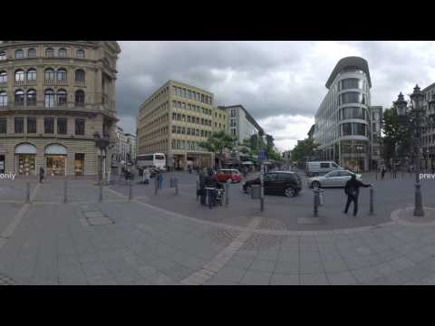 360 VR Alte Oper and Opernplatz leading to Fressgass. Frankfurt, Germany