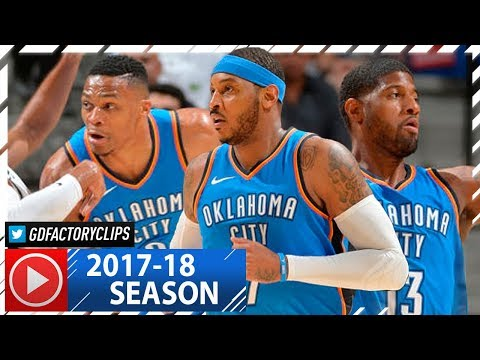 Russell Westbrook, Carmelo Anthony & Paul George BIG 3 Highlights vs Spurs (2017.11.17) - DRAMA!